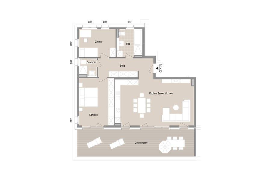 3-Zimmer Penthouse Wohnung